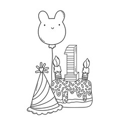kids birthday cartoons black and white vector image