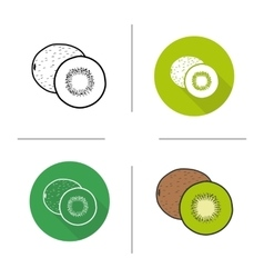 Kiwifruit flat design linear and color icons set vector image