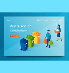Landing banner waste sorting responsible society vector