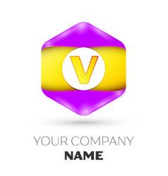 Letter v logo symbol in colorful hexagonal vector