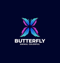 logo butterfly gradient colorful style vector image