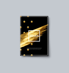 Luxury brochure cover with golden dots and stain vector
