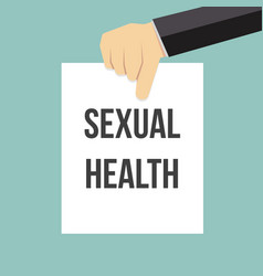 man showing paper sexual health text vector image