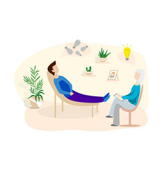 man talking to psychotherapist or psychologist vector image
