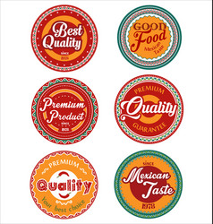 mexican design retro vintage labels collection vector image