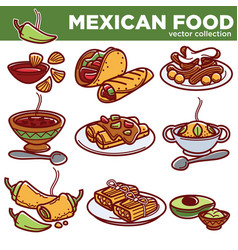 mexican food cuisine traditional dishes vector image