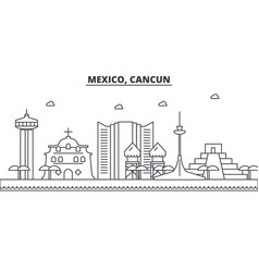 Mexico cancun architecture line skyline vector