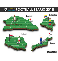 National soccer teams 2018 group h vector