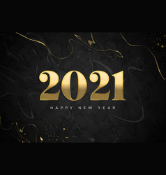 new year 2021 gold black marble luxury card vector image