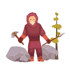 northern stone age primitive man well dressed vector image