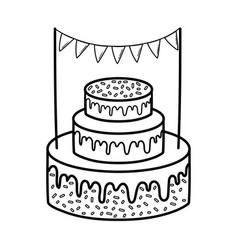 Party sweet cake with garlands vector