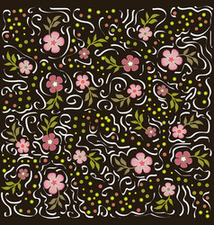 pattern with flowers and calligraphic lines vector image