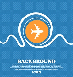 Plane icon sign Blue and white abstract background vector