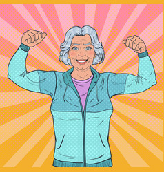 Pop art senior mature woman showing muscles vector