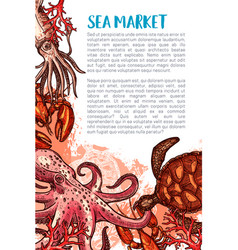 Poster for seafood fishing market vector