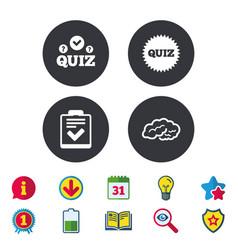 Quiz icons checklist and human brain symbols vector