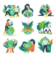Recycling and caring for planet earth volunteering vector
