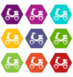 scooter icons set 9 vector image