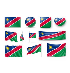 set namibia flags banners banners symbols flat vector image