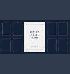 Set vintage golden frame with marble background vector