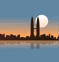 Silhouette of malaysia city tour scenery vector