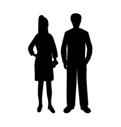 silhouettes of a man and a woman vector image