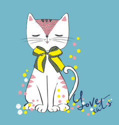 Sketch sitting white cat with polka dot bow vector