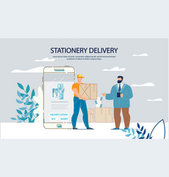 Stationary purchasing and delivery service online vector