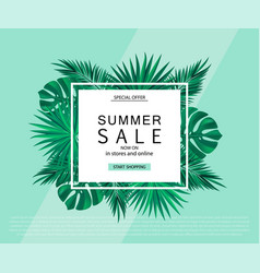 summer sale banner poster with tropical plants vector image vector image