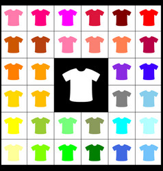 T-shirt sign felt-pen 33 colorful icons vector