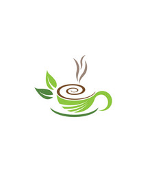 Tea cup logo template vector