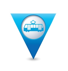 tram icon map pointer blue vector image