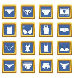 underwear items icons set blue vector image