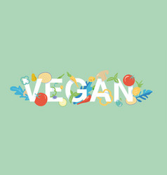 vegan banner tamplate with food icon vector image