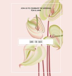 Watercolor anthurium flower save date card vector