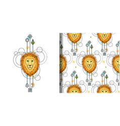 Watercolor loin print and seamless pattern vector