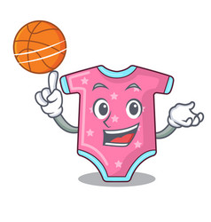 With basketball character baby clothes hanging on vector