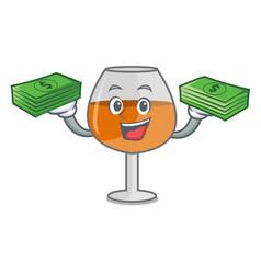 With money bag cognac ballon glass mascot cartoon vector