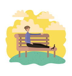 woman sitting in park chair avatar character vector image
