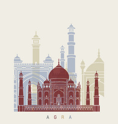 Agra skyline poster vector