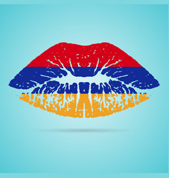 armenia flag lipstick on the lips isolated on a vector image vector image