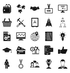 bkg icons set simple style vector image vector image