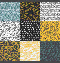 Decorative hand drawn seamless patterns vector