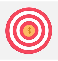Target with big dollar coin Flat design vector image vector image