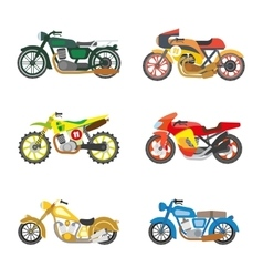 Set of flat motorcycles vector image vector image