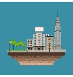 Urban building street lamp post blue background vector