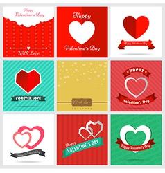 Set of nine style happy Valentine Card Design vector image vector image
