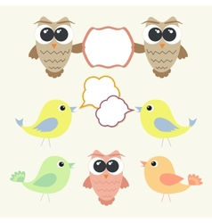 Set of owls and birds with speech bubbles vector image vector image
