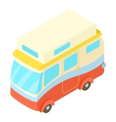 Traveling camper van icon isometric 3d style vector image