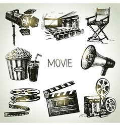 Hand drawn vintage movie and film set vector